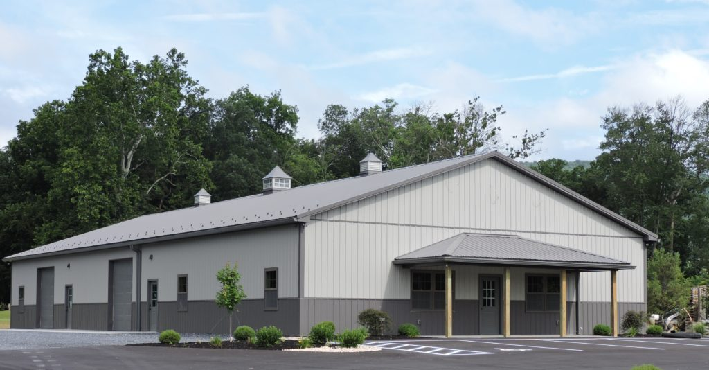 50' x 96' x 14' Commercial Pole Building with a 25' x 8' x 9' Open Lean-to Roof